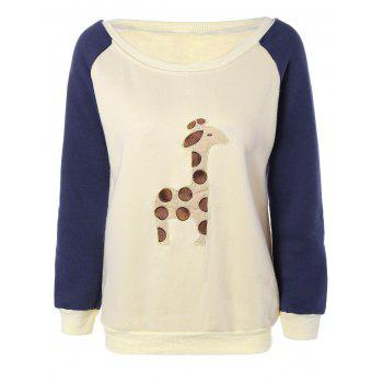 Raglan Sleeves Fleece Deer Sweatshirt