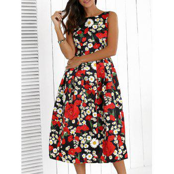 Floral High Waisted Swing Prom Dress