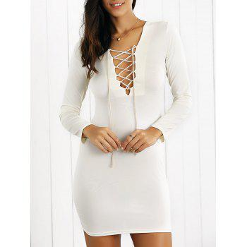 Tight Long Sleeves Criss-Cross Lace Up Dress