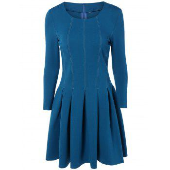 Long Sleeves Topstitching Pleated Dress