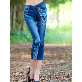 Ethnic Style Embroidered Frayed Skinny Jeans