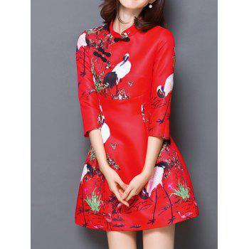 Chinese Style Carne Bird Print Mandarin Collar Dress