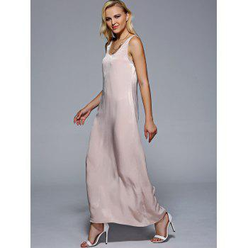 Women's U Neck Sleeveless Solid Color Maxi Dress - YELLOWISH PINK S