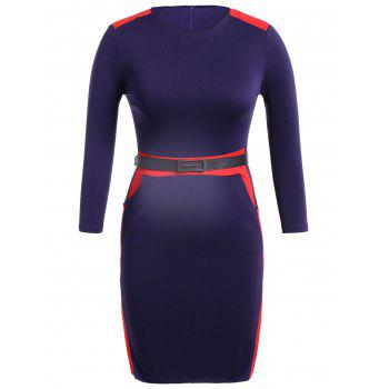 Split Belted 3/4 Sleeve Formal dress