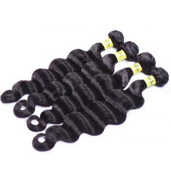 Deep Wave 1 Pcs 6A Virgin Brazilian Hair Weaves - BLACK BLACK