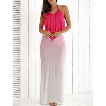 Halter Ruched Ombre Backless Dress