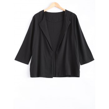 Pocket Design Loose-Fitting Linen Blazer - BLACK XL