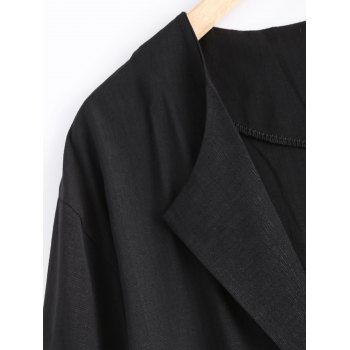 Pocket Design Loose-Fitting Linen Blazer - XL XL