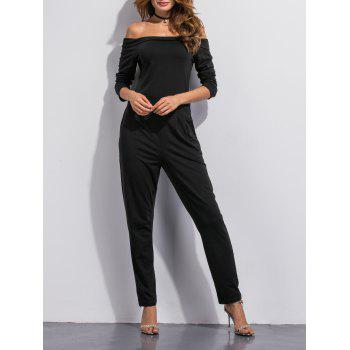 Off The Shoulder Pocket Design Jumpsuit