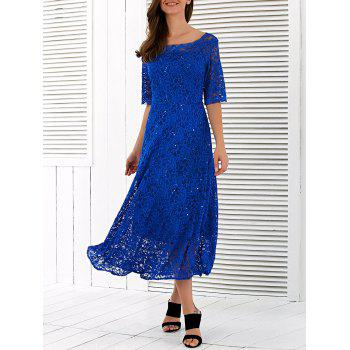 Embroidery Short Sleeve Boat Neck Lace Dress