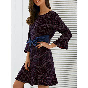 Bowknot Design Bell Sleeve Plaid Dress