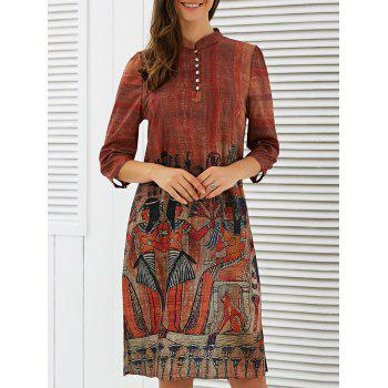 3/4 Sleeve Tribe Print Dress