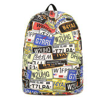 Letter Print Zip Canvas Backpack