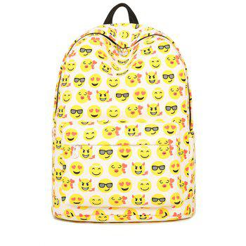 Zip Emoji Printed Canvas Backpack