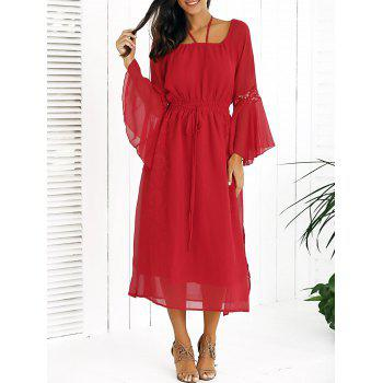 Drawstring Bell Sleeves Lace Spliced Chiffon Dress