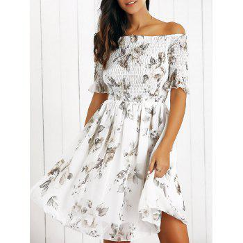 Off The Shoulder Ruffled Flowers Print Chiffon Dress