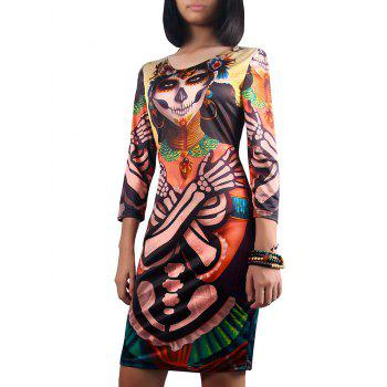 Halloween 3/4 Sleeve Ghost Print Dress