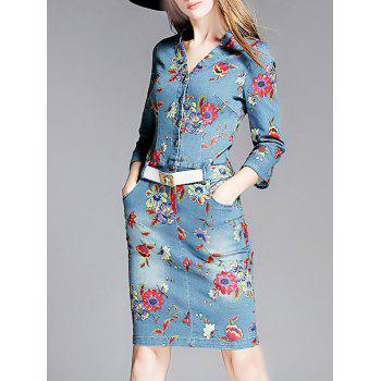 Button Front Print Denim Dress