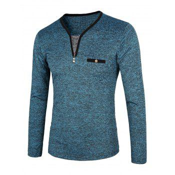 Color Block Splicing Long Sleeve Half Zip Design T-Shirt - BLUE L