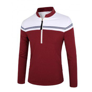 Color Block Splicing Stripe Long Sleeve Half Zip Design T-Shirt