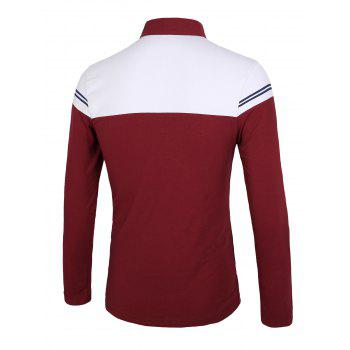 Color Block Splicing Stripe Long Sleeve Half Zip Design T-Shirt - RED M