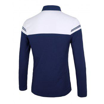 Color Block Splicing Stripe Long Sleeve Half Zip Design T-Shirt - DEEP BLUE M