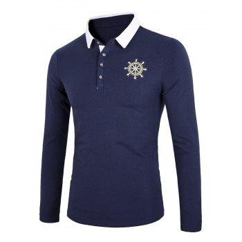 Color Block Splicing Long Sleeve Rudder Embroidery Polo T-Shirt