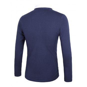 Color Block Splicing Long Sleeve Rudder Embroidery Polo T-Shirt - DEEP BLUE M