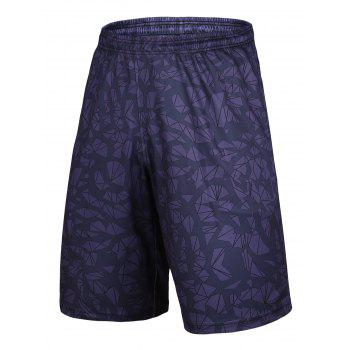 Crushed Ice Pattern Elastic Waist Basketball Shorts