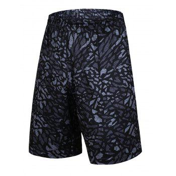 Crushed Ice Geometric Pattern Elastic Waist Basketball Shorts