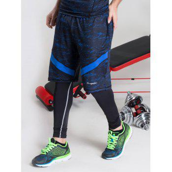 Color Block Elastic Waist Selvedge Embellished Basketball Shorts - BLUE S