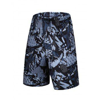 Color Block Elastic Waist Spliced Letters Print Basketball Shorts