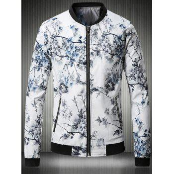 3D Flower Chinese Painting Print Stand Collar Plus Size Jacket