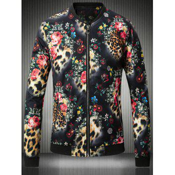 3D Flower and Leopard Print Stand Collar Plus Size Jacket