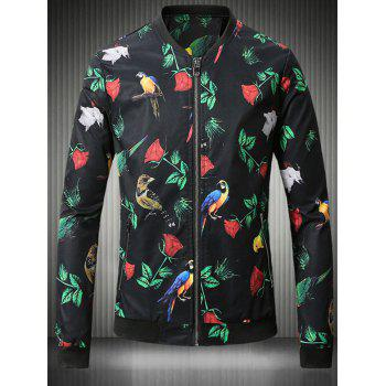 3D Rose and Bird Print Stand Collar Plus Size Jacket