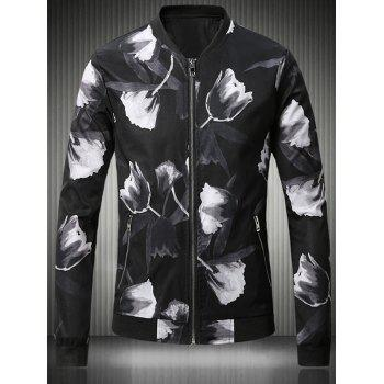3D Rose Print Stand Collar Plus Size Bomber Jacket
