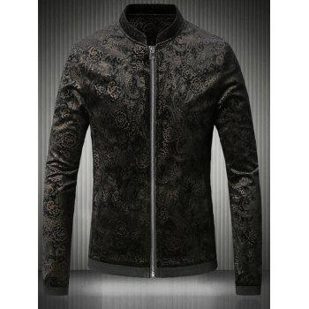 Gloden Floral Jacquard Stand Collar Plus Size Velvet Zip-Up Jacket