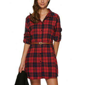 Long Sleeve Plaid Tunic Flannel Shirt Dress