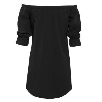 Off The Shoulder Button Design Mini Dress - BLACK M
