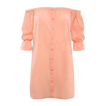 Off The Shoulder Button Design Mini Dress - NUDE PINK NUDE PINK