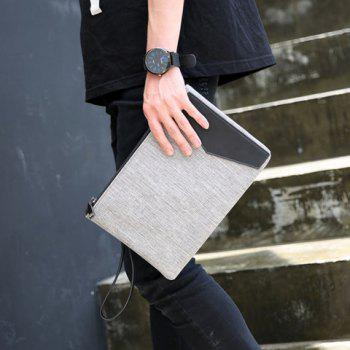 Colour Block Canvas Splicing Clutch Bag -  GRAY