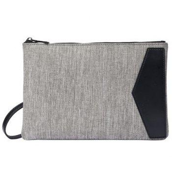 Colour Block Canvas Splicing Clutch Bag - GRAY GRAY
