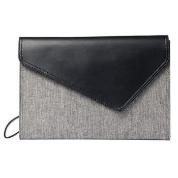 PU Leather Colour Block Covered Closure Clutch Bag - GRAY GRAY