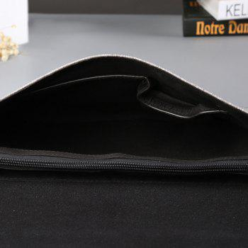 PU Leather Colour Block Covered Closure Clutch Bag -  GRAY