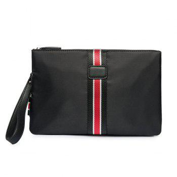 Splicing Color Block Nylon Clutch Bag - BLACK BLACK
