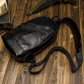 Metal PU Leather Double Zipper Crossbody Bag -  BLACK