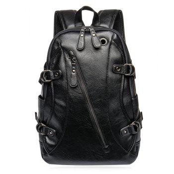 Zip Rivet Stitch Leather Backpack
