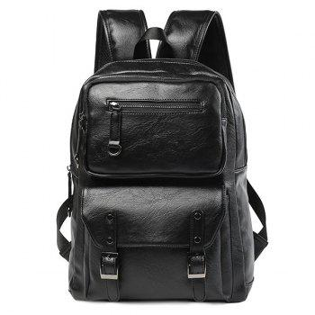 Stitch Buckle Strap Backpack - BLACK BLACK