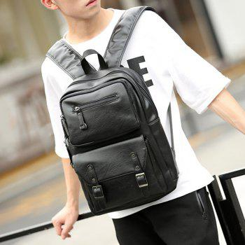 Stitch Buckle Strap Backpack - BLACK