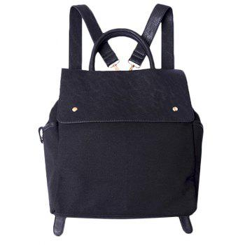 Magnetic Closure Canvas Splicing Backpack